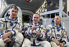 ESA astronaut Paolo Nespoli, Russian cosmonaut Sergey Ryazansky and NASA astronaut Randolph Bresnik near the Soyuz MS-05 spacecraft
