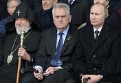 Karekin II, Supreme Patriarch and Catholicos of All Armenians, Serbia's president Tomislav Nikolic and Russia's president Vladimir Putin