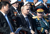 Russian president Vladimir Putin and his chinese counterpart Xi Jinping at the parade