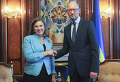 US Assistant Secretary of State Victoria Nuland (left) and Ukrainian Prime Minister Arseniy Yatsenyuk (right)