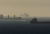 Cargo ships in the Mediterranean Sea, near the port of Ashdod, Israel