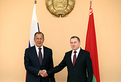 Russian Foreign Minister Sergey Lavrov and Belarusian Foreign Minister Vladimir Makei
