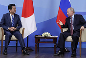 Japanese Prime Minister Shinzo Abe and Russian President Vladimir Putin seen during a meeting on the sidelines of the 2018 Eastern Economic Forum