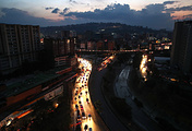 A view of a street during power outage in Caracas