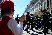 Military parade marking Greece's Independence Day in front of the Greek Parliament building in Athens