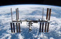 The International Space Station consists of pressurised modules, external trusses, solar arrays and other components. Photo: International Space Station photographed soon after the space shuttle Atlantis and the station began their post-undocking separation, 2009