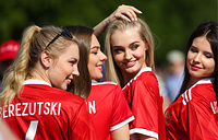 Russian football fans seen outside Saint Petersburg Arena Stadium ahead of the 2017 FIFA Confederations Cup Group A match between Russia and New Zealand