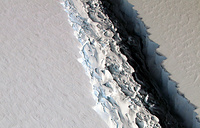 A view of a massive rift in the Antarctic Peninsula's Larsen C ice shelf, Antarctica, November 10, 2016