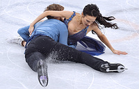 US Madison Chock and Evan Bates perform their free dance during a figure skating event at the 2018 Winter Olympic Games