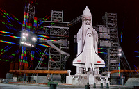 The moment before launch of the Energia rocket with the Buran spacecraft, 1988
