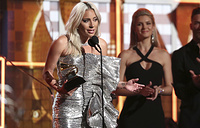 "Lady Gaga accept the award for best pop duo or group performance for ""Shallow"" at the 61st annual Grammy Awards in Los Angeles"