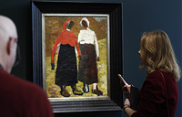 'Two Peasant Women' by Kazimir Malevich at a presale exhibition of items which are up for the Sotheby's Russian Art Week, at the Shchusev State Architecture Museum