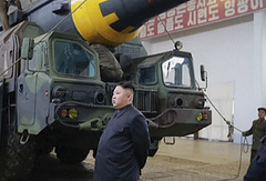 Kim Jong Un at what was said to be a missile test site at an undisclosed location in North Korea
