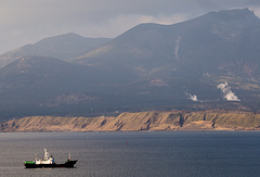 A view of Yuzhno-Kurilsk Bay on Kunashir Island, the southernmost one of the Kuril Islands