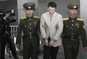 American student Otto Warmbier, escorted at the Supreme Court in Pyongyang, North Korea, March 16, 2016