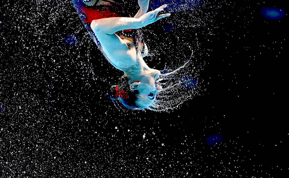 Russian national synchronized swimming team wins gold at the 2013 World Aquatics Championships in Barcelona. July 21, 2013.