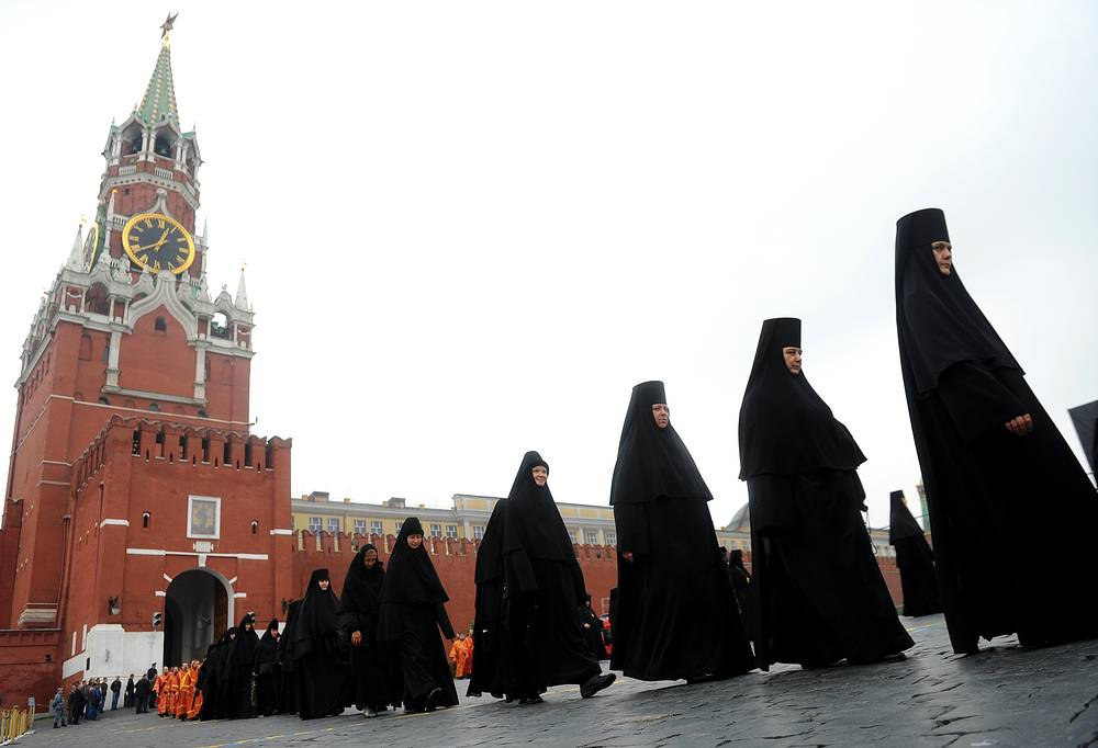 Sacred procession at the Red Square at the day commemorating Slavic literature and culture. May 24, 2013.