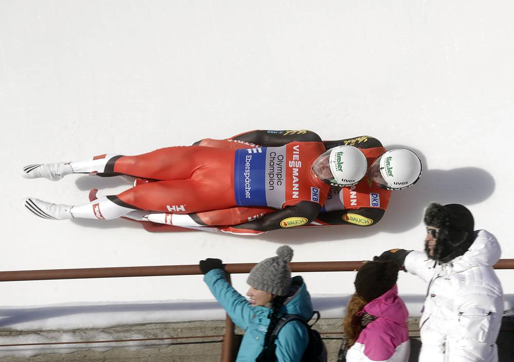 Men's doubles competition at the Luge World Cup in Sigulda, Latvia on Jan. 25, 2014
