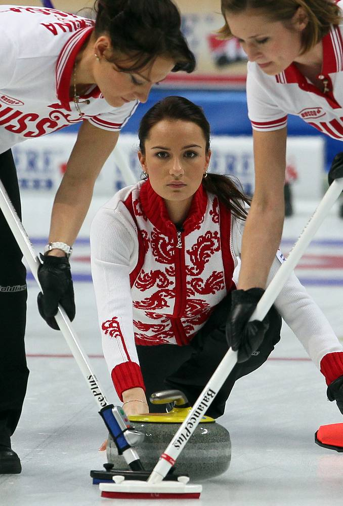 Russian curling team during a Bronze medal match with Denmark at  the European Curling Championships 2011