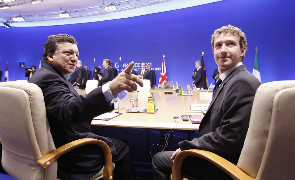 Mark Zuckerberg with European Commission President Jose Manuel Barroso at a working session of the G8 summit on Internet security