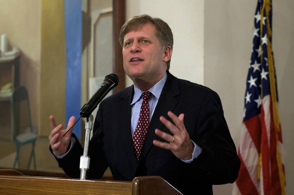 """After more than five years working in the Obama administration, it is time to go home,"" Michael McFaul noted in his Livejournal blog. Photo: U.S. Ambassador to Russia Michael McFaul delivers a speech during the Election Night reception"