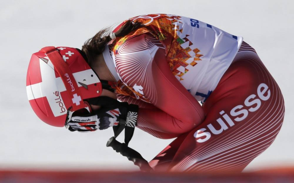 Switzerland's Dominique Gisin reacts after a women's downhill training run