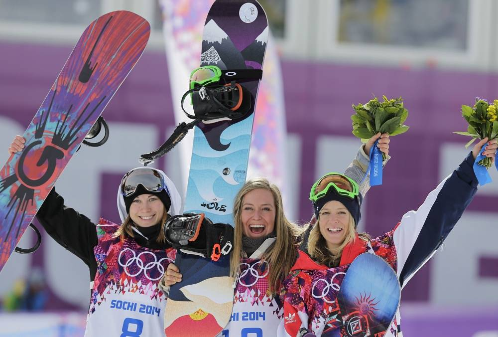 Jamie Anderson of the United States, center, celebrates with silver medalist Enni Rukajarvi of Finland, left, and bronze medalist Jenny Jones of Britain
