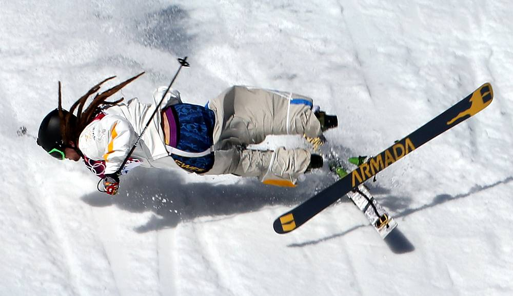 Henrik Harlaut of Sweden falls during the Men's Freestyle Skiing Slopestyle qualification