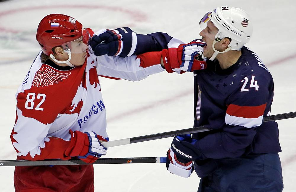 Russia defenseman Yevgeni Medvedev and USA forward Ryan Callahan