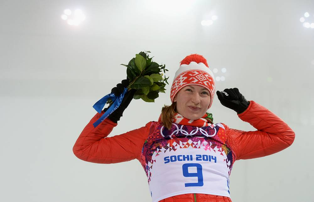 At the flower ceremony after women's 10km pursuit