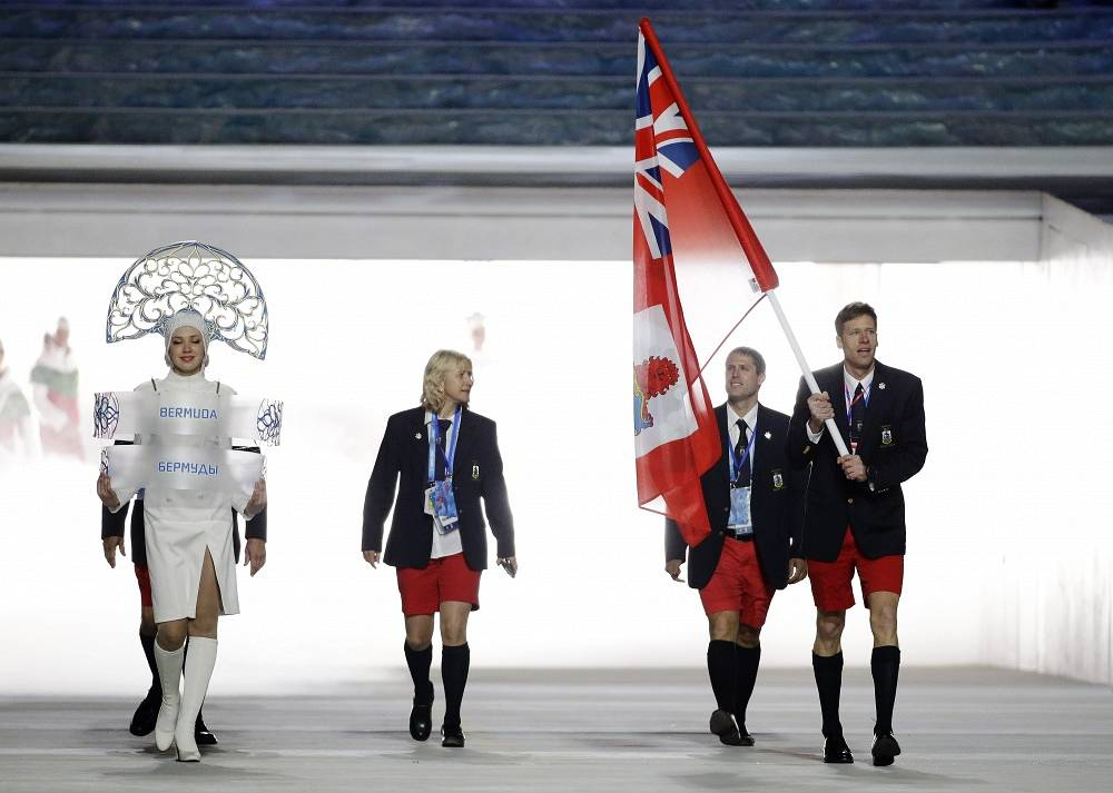 Compared to Zimbabwe, Bermuda is a veteran of winter Olympics. sochi Games are the seventh in the country's history. Photo: Bermuda's flag bearer Tucker Murphy