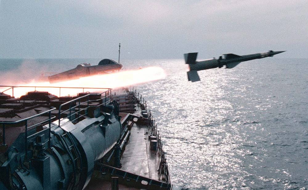 Black Sea Fleet navy cruiser fires a missile