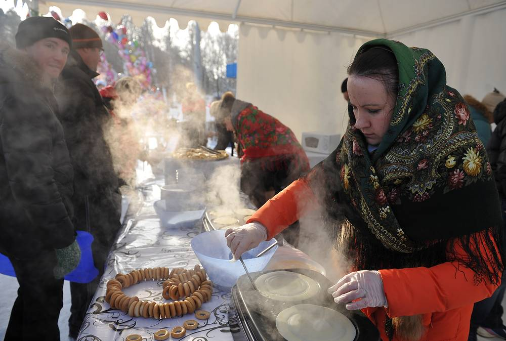Crepes (blinis) are made of milk, eggs and butter which still are permitted by the Orthodox tradition During the week of Maslenitsa