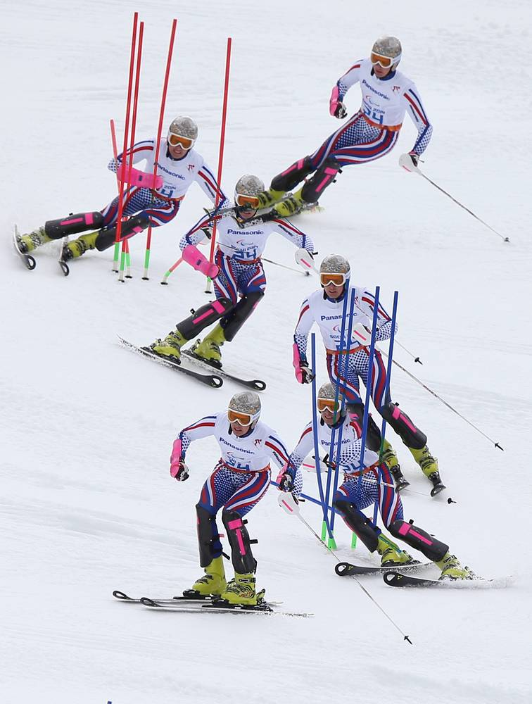 Russia's Alexander Alyabyev competes in the Men's Slalom Standing event