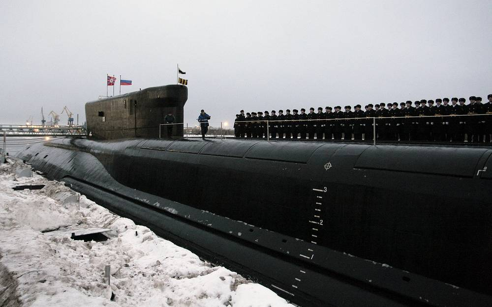 Borei class nuclear-powered ballistic missile submarine Alexander Nevsky being commissioned into the Russian Navy
