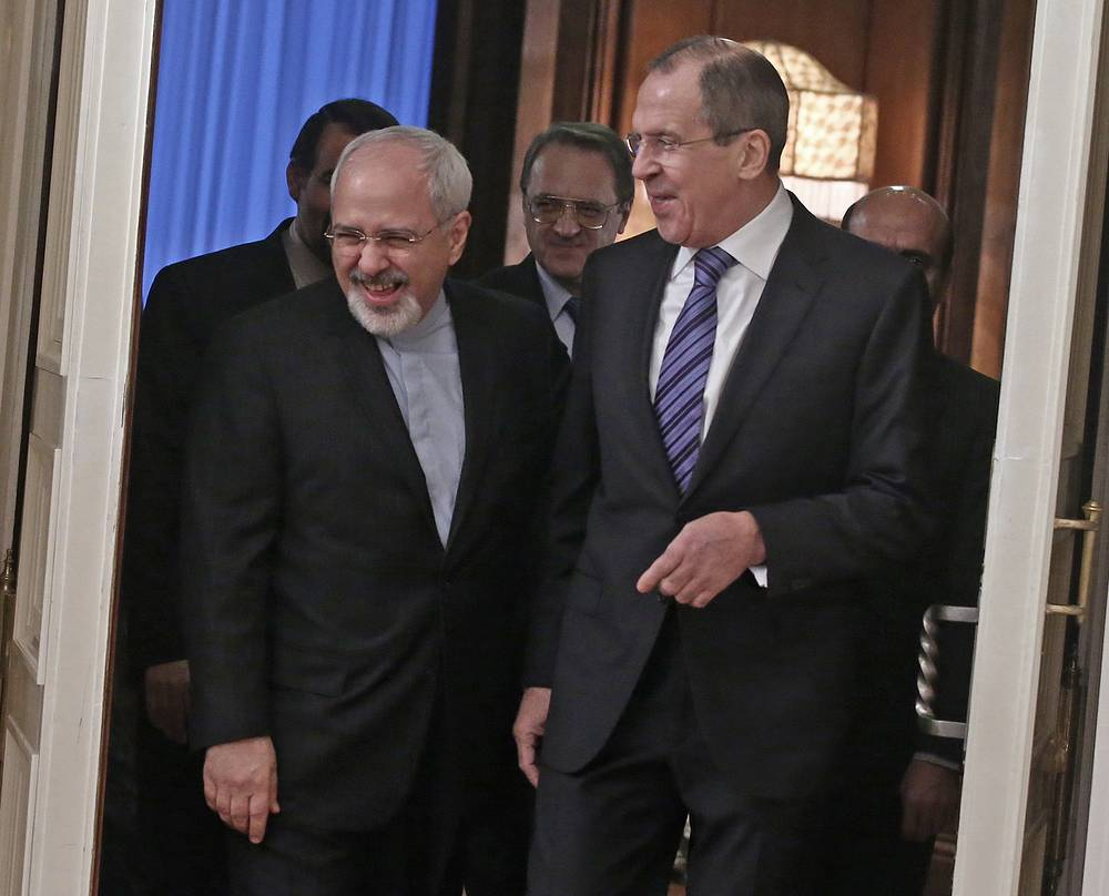 Iranian Foreign Minister Mohammad Javad with Russian Foreign Minister Sergei Lavrov
