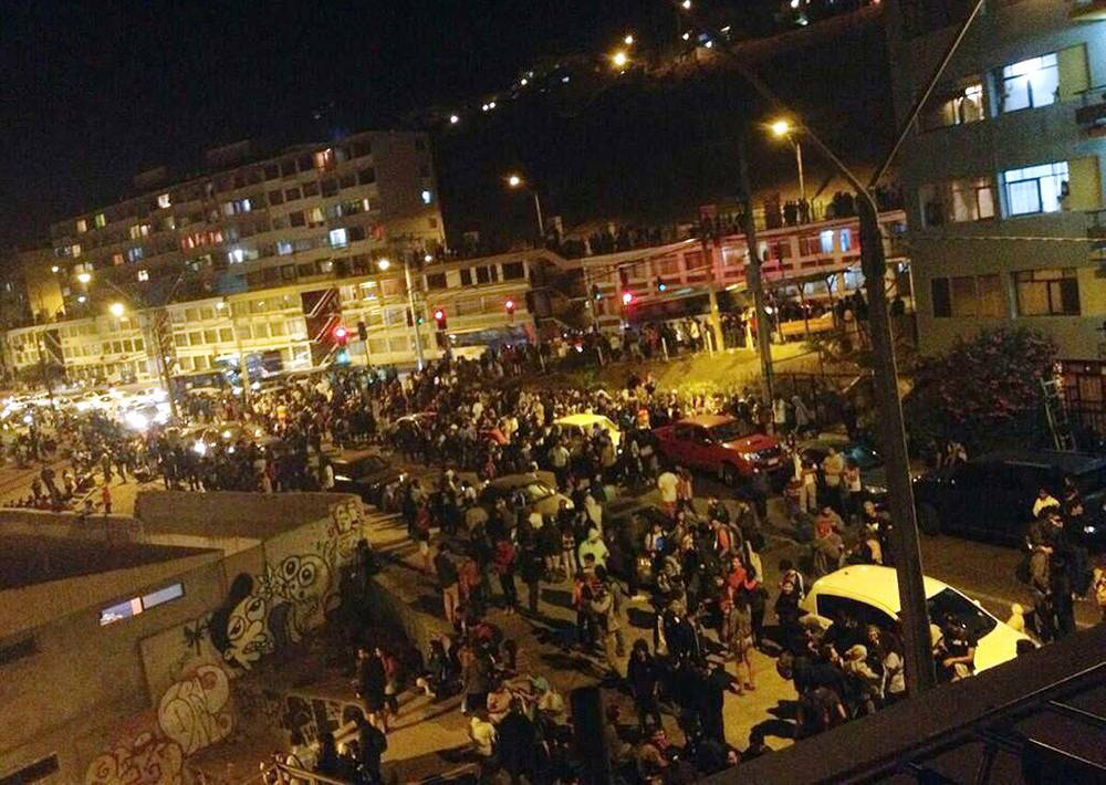 Evacuation of people due to a tsunami alert