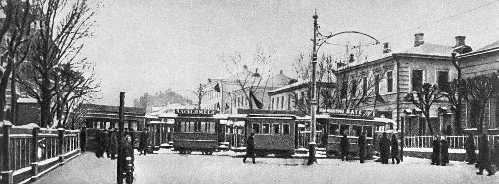 A tram used in the barricades in Moscow during the revolution of 1905