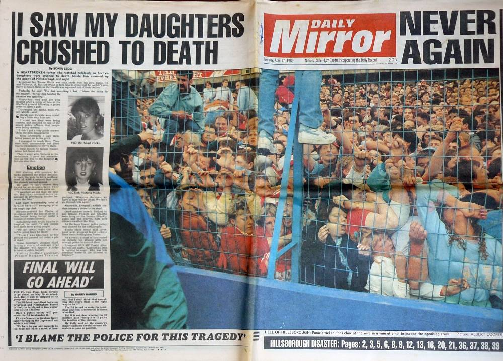 In 1989, 96 fans of Liverpool FC were killed in a stampede at Hillsborough in Sheffield. Photo: Daily Mirror front page, April 17 1989