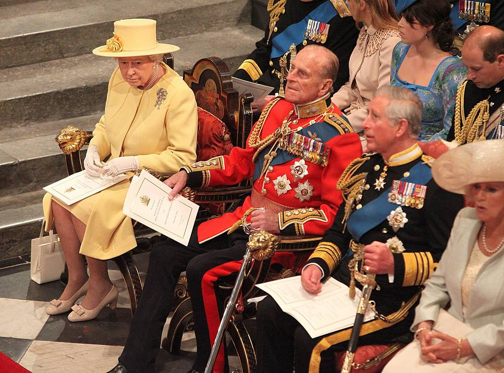 Queen Elizabeth II, Prince Philip, Duke of Edinburgh, Prince Charles of Wales, and Camilla Duchess of Cornwall attend the wedding ceremony of Prince William and Kate Middleton at Westminster Abbey