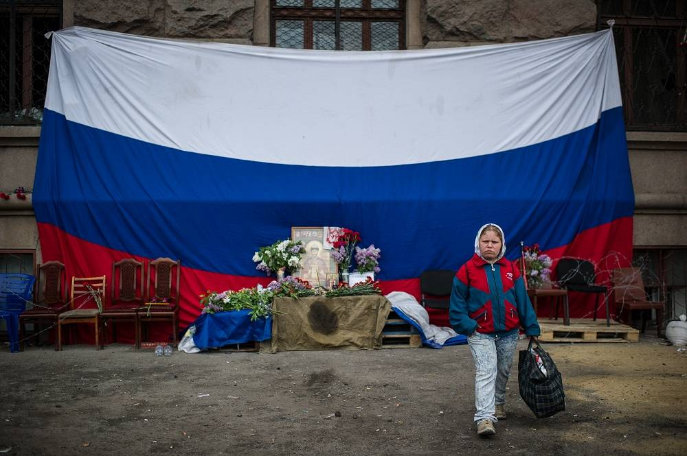 May 4, a giant flag of Russia has been hung on the House of trade unions in Odessa