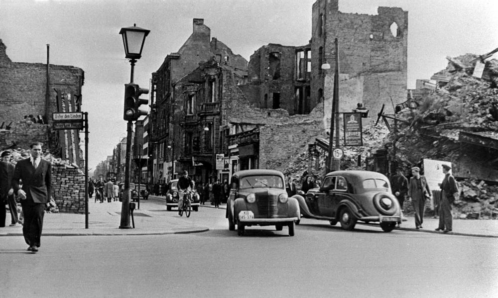 Berlin was also devided into four sectors, eventually merging into West Berlin, controlled by the Western Allies, and East Berlin, held by the Soviets. Photo: center of Berlin after the war