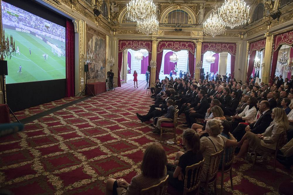 French olympic medalists from the 2014 Sochi winter Olympic Games and Paralympic Games watch France play at the Elysee Palace in Paris