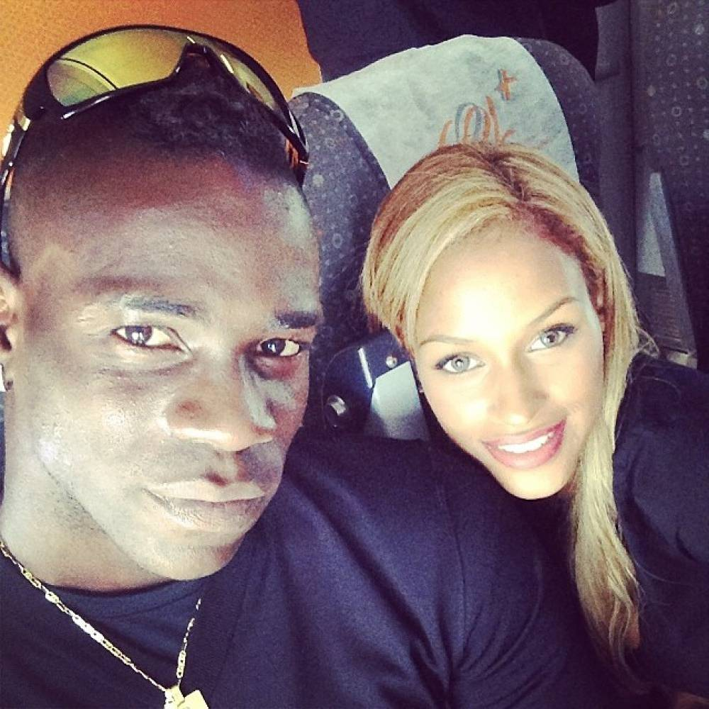 Mario Balotelli of Italy and his girlfriend Fanny Neguesha. The forward proposed to his girlfriend not long defore the World Cup