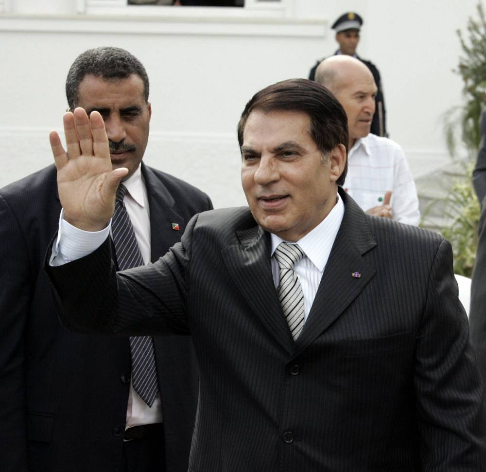 Ex-president of Tunisia Zine el-Abidine ousted during the revolution in January 2011, fled to Saudi Arabia as he is sentenced to three lefe terms for crackdown of demonstrations in Tunisia