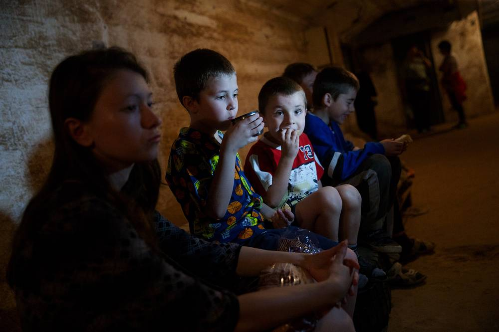Children in a bomb shelter