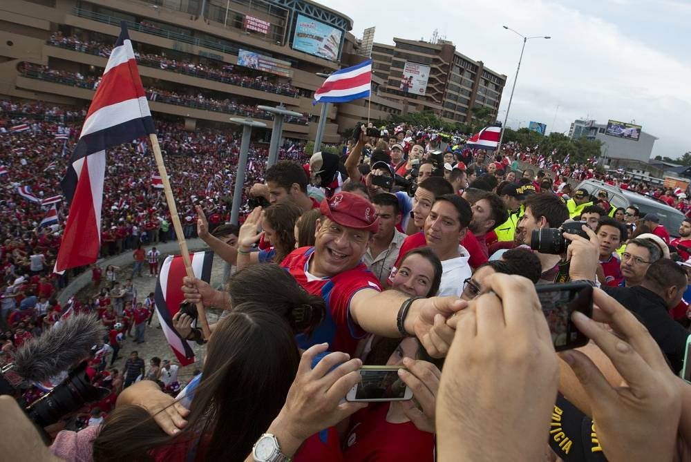 Costa Rica's Luis Guillermo Solis joined the fans at a square in the center of Costa Rica's capital San Jose