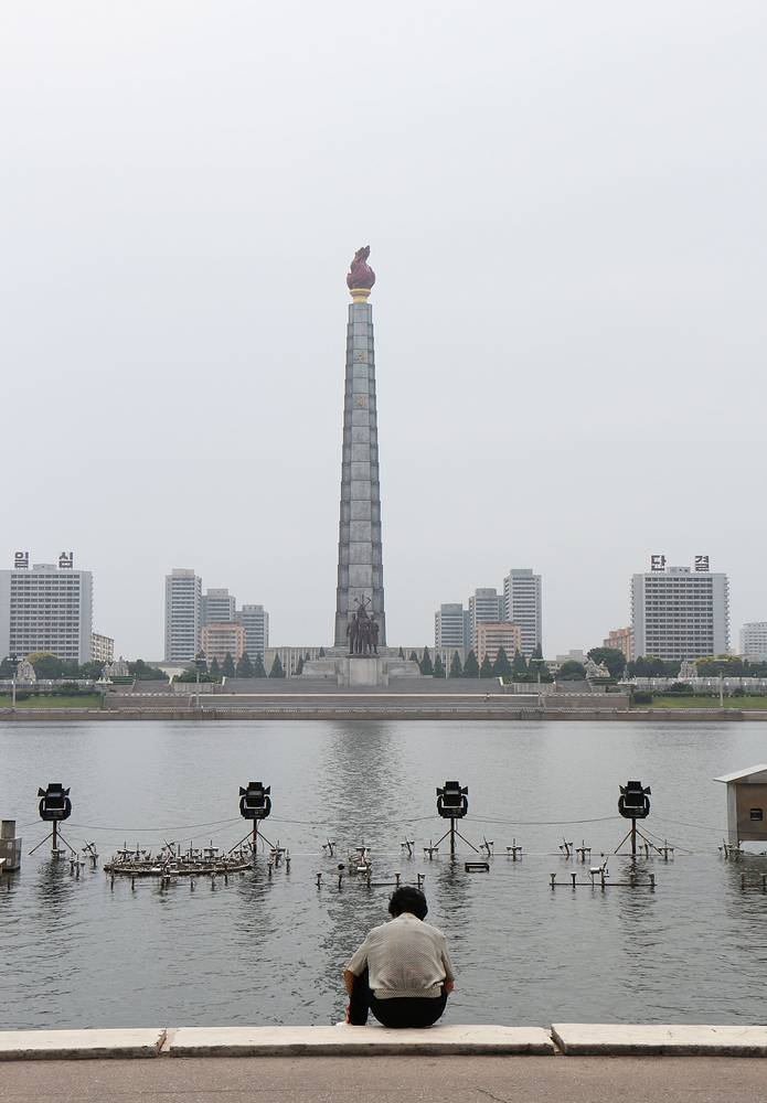 The second tallest building in Pyongyang is the Tower of the Juche Idea. Inside the 170-meters obelisk, there's a lift to a viewing point on the top