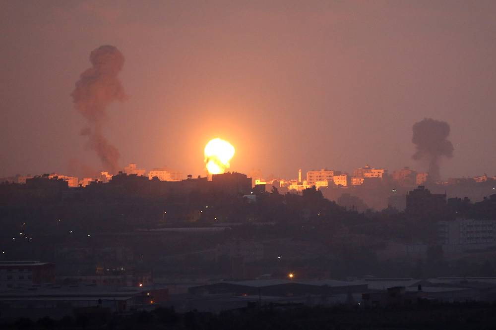 Smoke rises after an attack of Israeli aircraft in the Gaza Strip