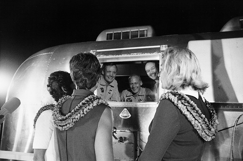 The crew were kept in a 18-day quarantine to ensure that they had not picked up any infections or diseases from the Moon. Photo: astronauts  in their quarantine van, with their wives upon arrival at Ellington Air Force Base near Houston, Texas